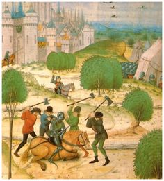 March 1382 /Révolte des Maillotins-des Maillotins tuent un Chevalier-Peasants murder a knight Source 	www.historyandcivilization.com-Jean Froissart-Les Chroniques de Froissart+Hundred Years' War+Charles VI of France+Medieval miniatures of battles+Liat of Peasant Revolts
