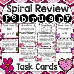 Math Spiral Review Task Cards February/Valentine Theme.  Great for reviewing standards in 5th grade.  These task cards are perfect for centers, small group and early finishers.