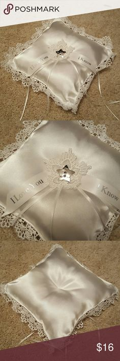 """Star Wars Themed Ring bearer pillow White, lace trim, """"I love you"""", """"I know"""" quote. Never used. Originally bought on Etsy, didn't use for my wedding. Smoke-free home. Other"""