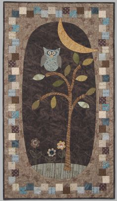 owl quilt love the squares off set around the border