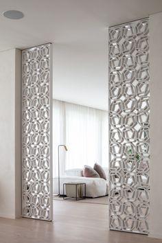 Saheel Residence Dubai - One Hall Interior Design, Home Room Design, Pooja Room Door Design, Living Room Designs, House Design, Living Room Partition Design, Room Partition Designs, Home Living Room, Living Room Decor