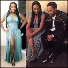 """Yandy Smith is looking superb just 5 weeks post baby Glammed out in this Couture Azzedine Alaia Gown & shoes alongside her fiancé Mendeecees in head to…"""
