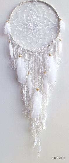 The White Arctic Fox Native Style Woven Dreamcatcher