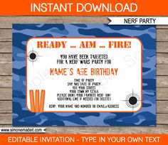 Nerf Birthday Party Invitations | Blue Camo | Editable & Printable DIY Template | INSTANT DOWNLOAD via simonemadeit.com