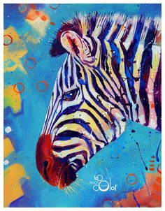 """Zebra 2 - Original colorful traditional painting paper acrylic 8.5""""x11"""""""