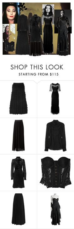 """""""Morticia Addams"""" by kevlartunga ❤ liked on Polyvore featuring D&G, Philosophy di Alberta Ferretti, Class Roberto Cavalli, Rosamosario, Lanvin, Theia, gothic, the addams family, long black dress and long black skirt"""