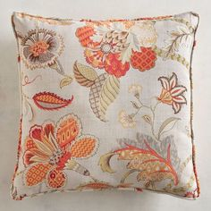 Our sophisticated Eva Floral Pillow features an elegant botanical print in muted hues. Crafted of weather-resistant fabric, this floral arrangement is more durable than delicate and makes a superb choice for guests relaxing indoors or outside. Coral Pillows, Colorful Pillows, Accent Pillows, Outdoor Throw Pillows, Decorative Throw Pillows, Dining Room Drapes, Living Room Cushions, Brazilian Embroidery, Botanical Prints