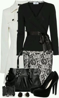 Classy black and white outfit