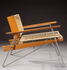 Serge Ketoff; Painted Tubular Metal, Walnut and Cord Lounge Chair for Steph Simon, 1950s.