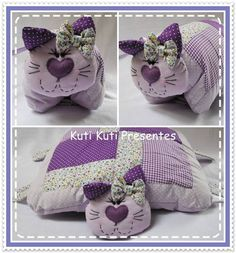gatinho que vira travesseiro | KUti KUti Presentes | Elo7 Patchwork Baby, Patchwork Pillow, Cat Crafts, Easy Diy Crafts, Quilting Projects, Sewing Projects, Homemade Christmas Presents, Animal Cushions, Cat Pillow