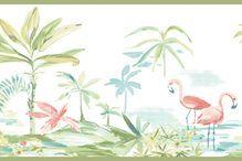 Pink Flamingos Lagoon Green Wallpaper Border 3113 12221b Wallpaper Border Tropical Wallpaper Blue Wallpapers