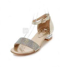Calçados Femininos Courino Salto Grosso Chanel Sandálias Social Prateado/Dourado - EUR €37.99