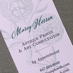 Botanical Woodcut Peony Floral Business Card by nancynikkodesign