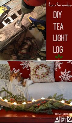 How to make a DIY tea light log. Takes about 10 minutes and looks great on the mantel, coffee table, or hutch. for porch coffee table Noel Christmas, Christmas And New Year, Winter Christmas, All Things Christmas, Holiday Crafts, Holiday Fun, Holiday Decor, Wood Crafts, Diy Crafts