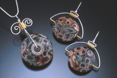 polymer clay pendants for sale | Caneworked polymer clay, hardware, Sterling silver wire, brass tubing ...