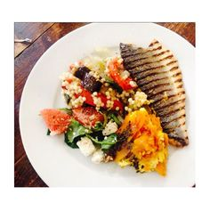 """""""Lunch grilled Seabass, roasted pumpkin & ricotta, giant couscous with roasted veg, feta & grapefruit mmmmm delicious!!!! #eatwellwithlucy #eatclean…"""""""