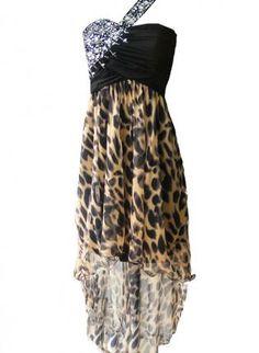One Shoulder Animal Print Dress with Jewel Embellishment,  Dress, animal print  one shoulder dress, Chic