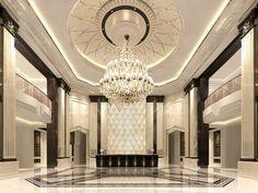 Modern chandelier design in contemporary hotel lobby