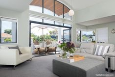 Walls painted in Resene Half Duck Egg Blue pull indoors the 'beachy vibe' of Mount Maunganui. The ceiling is painted in Resene Half White Pointer throughout the home. Decor, Wall Paint Colors, House, Colorful Interiors, Beachy, Relaxing Bathroom, White Cabinetry, Lounge Areas, House Colors