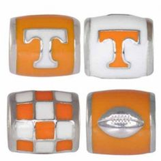"Fashionable University of Tennessee team jewelry. This bundle contains four University of Tennessee jewelry pieces:     UT1 Orange Logo On White Bead     UT2 White Logo on Orange Bead     UT4 Checkerboard Bead     UT6 Football on Orange Bead Beads are 925 Silver and Enamel. These are ""Teagan"" beads and they are compatible with Pandora, Biagi, Zable, Brighton, Troll and many other European style bracelets.  MUST HAVE ITEM!"