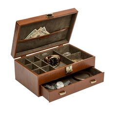 """Impeccable details are what make the Mele & Co. """"Weston"""" locking jewelry box posh and practical. The plush interior lid sports a smart pocket and the … Jewelry Box With Lock, Jewelry Chest, Locking Jewelry Box, Men's Jewelry Store, Discount Jewelry, Jewellery Storage, Cultured Pearls, Pink Leather, Wooden Boxes"""