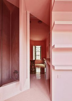 Surprisingly Inspired Pink Interiors | COCOCOZY Flat Interior, Cafe Interior, Interior Doors, Interior Design, Light Pink Bedrooms, Pink Cabinets, White Tile Backsplash, Turbulence Deco, New Architecture