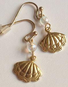 Gold Plated Shell Earrings Pearl Bead Dangle Sea Life Island Beach Pierced USA #Unbranded #DropDangle #sealifejewelry