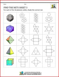 Here is our information page about Geometry Nets for kids. On this page are pictures of nets and their related solid 3 shapes, as well as nets worksheets and links to printable net pages. 3d Shapes Worksheets, Karton Design, Geometric Coloring Pages, Geometry Activities, Platonic Solid, Concrete Crafts, Kirigami, Art Plastique, Math Games