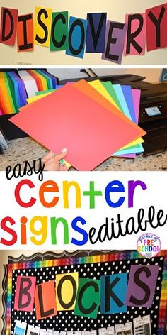 Editable Center Signs - Pocket of Preschool FREE EDITABLE Center signs! Easy to make classroom decor for preschool up to grade! Will match any classroom theme. Preschool Center Signs, Preschool Classroom Themes, Preschool Rooms, Preschool Centers, Classroom Signs, New Classroom, Classroom Organization, Preschool Decorations, Toddler Classroom Decorations