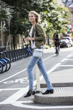 Model Garrn wearing her CLOSED Jeans in NYC http://www.closed.com/Toni-Garrn/Collection/