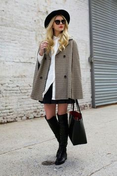 Atlantic-Pacific's Blair Eadie shows us how to style a houndstooth acpe for fall: with a mini and over-the-knee boots. Click for more outfit ideas!