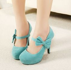 Free Shipping Fashion Round Head With Bow Thin High Heels Shoes For Lady + XZGG0104