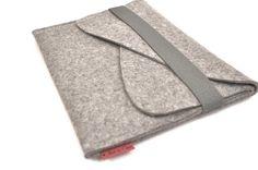 """MacBook 13 """"caso feltro di lana con doppia tasca ed elastico Trim"""
