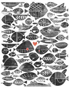 big fish little fish lino cut woodblock ink prints Illustration - Livy Long Illustration Vector, Pattern Illustration, Sea Fish, Fish Art, Textures Patterns, Illustrators, Stencil, Art Prints, Drawings