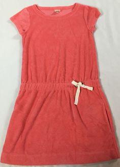 Crewcuts J. Crew Girls 6/7 Pink Terry Drawstring Dress Swim Cover w Pockets #Crewcuts #Everyday