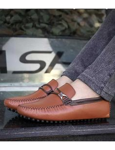 Brown double rope buckle leather slip on shoe loafer Mens Slip On Loafers, Mens Slip On Shoes, Leather Slip On Shoes, Loafers Men, Shoe Shop, Loafer Shoes, Shoes Online, Fashion Shoes
