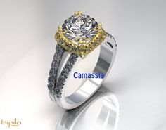 """""""Camassia"""" - Beautiful two tone engagement ring with one round brilliant cut diamond with smaller diamonds in halo and diamonds on each split shank. Two Tone Engagement Rings, First Round, Split Shank, Halo, Diamonds, Beautiful, Collection, Jewelry, Fashion"""