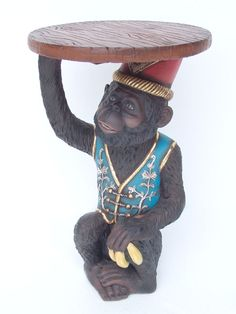 Vintage Table Of A Monkey In A Vest U0026 A Fez Hat