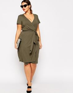 Enlarge ASOS CURVE Wrap Dress With Bow Front In Longer Length