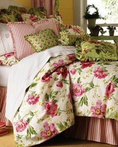 roses and stripes in cottage bedroom makeover Shabby Chic Bedrooms, Cozy Bedroom, Shabby Chic Furniture, Dream Bedroom, Shabby Chic Decor, Bedroom Decor, Luxurious Bedrooms, Beautiful Bedrooms, Luxury Bedding