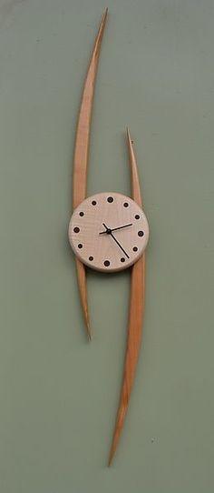 Slope Clock by Steve Uren (Wood Clock) Pistenuhr: Steve Uren: Holzuhr Clock Art, Diy Clock, Clock Ideas, Cool Clocks, Modern Clock, Wall Clock Design, Diy Wall Decor, New Wall, Wood Design