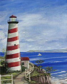 lighthouse paintings | Candycane Lighthouse Painting - Candycane Lighthouse Fine Art Print