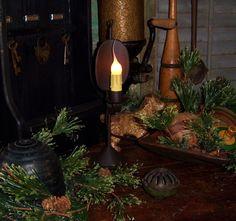 Primitive Antique Vtg Style Decor Rustic Colonial Reflector Candle Lamp Light #NaivePrimitive