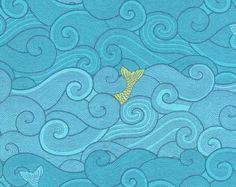 Quilting Treasures Jewels Of The Sea Fish Toss Aqua fabric  1