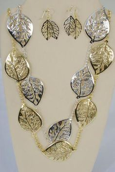 Gold Leaf Fashion Necklace and Earrings Set - Similar sets sell for well over twenty dollars, get it now from the Discount Fashion Diva for $5.99