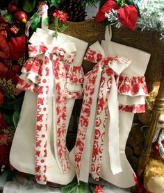Country chic stocking, Christmas Stockings,  Made to order.... $65.00, via Etsy. I am in >3.