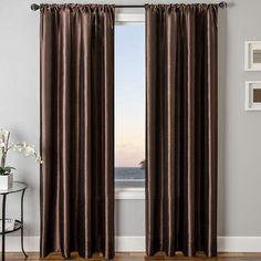 SOFTLINE HOME FASHIONS Sedro Solid Faux-Silk Rod-Pocket Curtain Panel #addition#striking#room