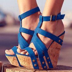 Sophisticated Cloth Rivets Ankle Strap Wedge Sandals #coolshoeshighheels #platformhighheelsanklestraps