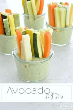 AVOCADO DILL DIP - A healthier dip option for snacking or to serve up at the next get together or party! Use Wildtree dill dip! Healthy Dips, Healthy Eating, Healthy Recipes, Healthy Dip For Veggies, Easy Snacks, Easy Meals, Healthy Party Snacks, Vegetable Sticks, Snacks Saludables