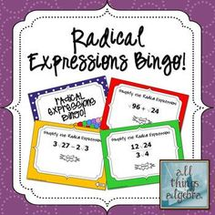 Radical Expressions Bingo Game - practices adding, subtracting, multiplying, and dividing rational expressions. Includes game, student worksheet, and 30 individualized boards Teacher Wish List, Math Teacher, Math Classroom, Math 2, Future Classroom, Teaching Activities, Teaching Tips, Math Resources, Teaching Math